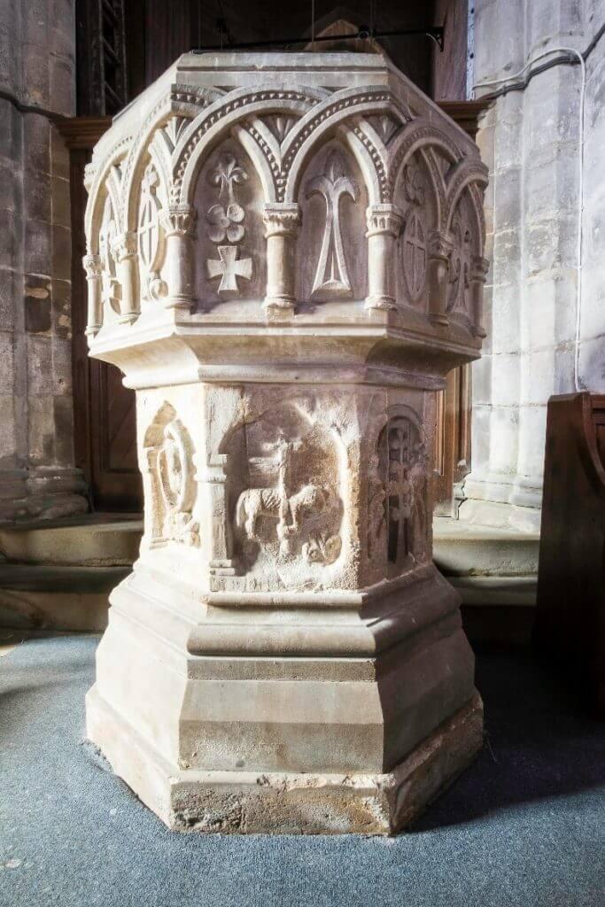 St Johns Colsterworth Newton's baptismal font