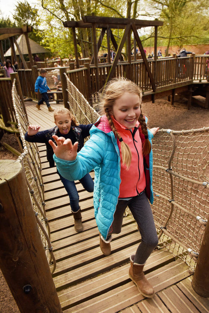 Children enjoying the Outoor Adventure Playground at Belton House, Lincolnshire