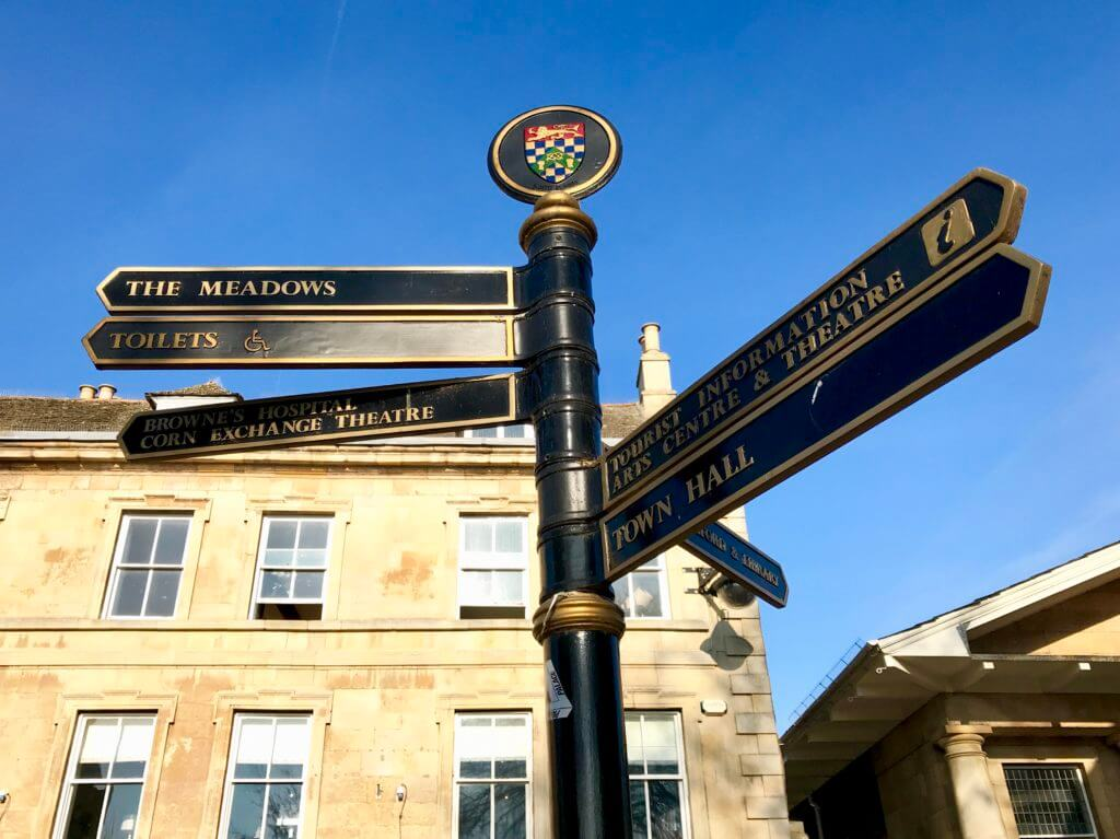 Stamford Sights & Secrets Tours signpost