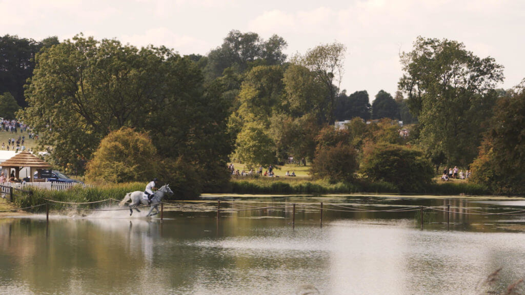Burghley Horse Trials grey at lake