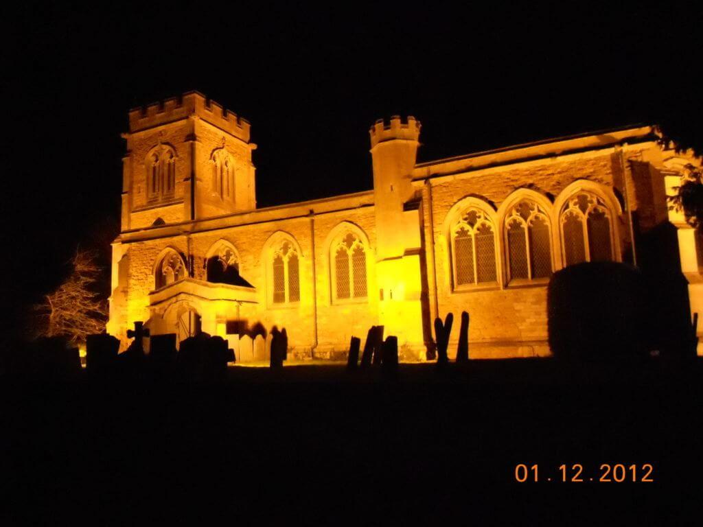 St Lawrence Sedgebrook at night