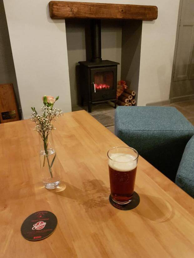 Thorold Arms Pint and Woodburner